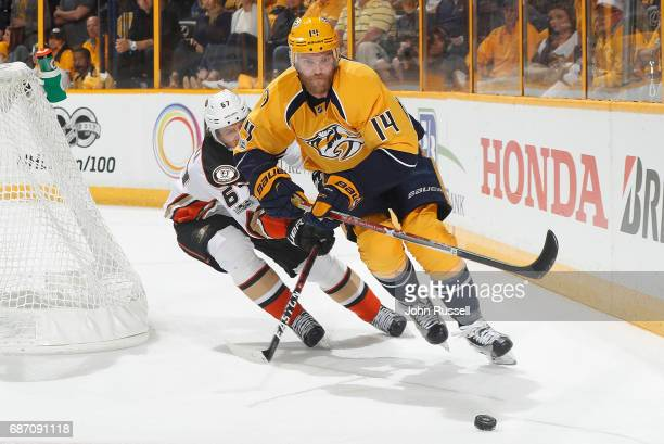 Mattias Ekholm of the Nashville Predators skates against Rickard Rakell of the Anaheim Ducks in Game Three of the Western Conference Final during the...