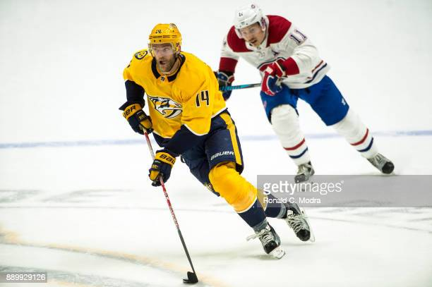 Mattias Ekholm of the Nashville Predators skates against the Montreal Canadiens during an NHL game at Bridgestone Arena on November 22 2017 in...