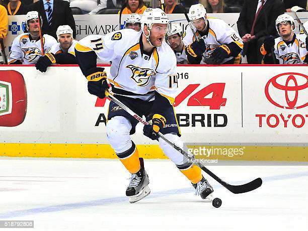 Mattias Ekholm of the Nashville Predators skates with the puck against the Pittsburgh Penguins at Consol Energy Center on March 31 2016 in Pittsburgh...