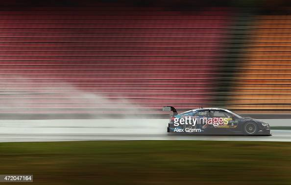 Mattias Ekstroem of Sweden and Audi Sport Team Abt Sportsline drives during the second race of the DTM 2015 German Touring Car Championship at...
