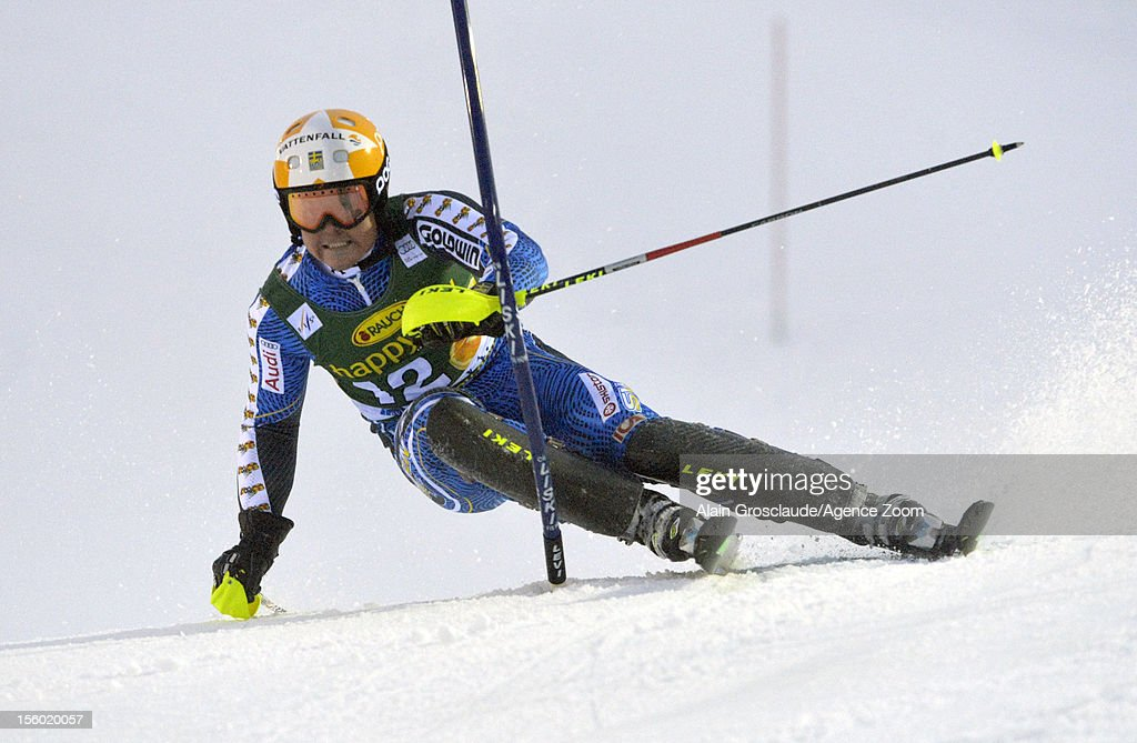 Mattias Hargin of Sweden competes during the Audi FIS Alpine Ski World Cup Men's Slalom on November 11, 2012 in Levi, Finland.