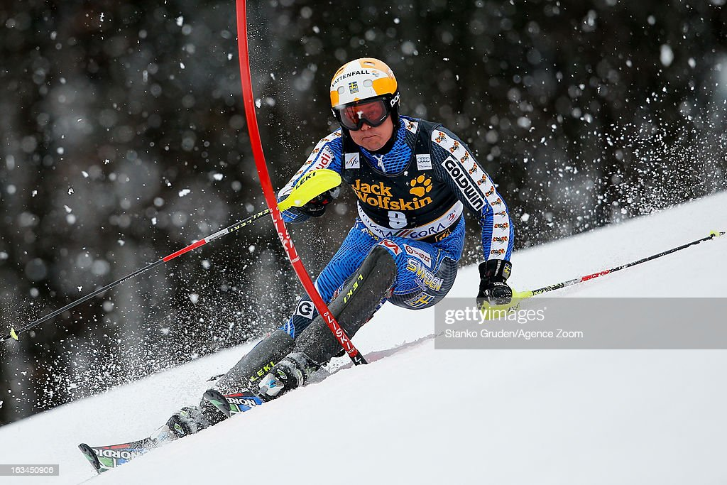 Mattias Hargin of Sweden competes during the Audi FIS Alpine Ski World Cup Men's Slalom on March 10, 2013 in Kranjska Gora, Slovenia.