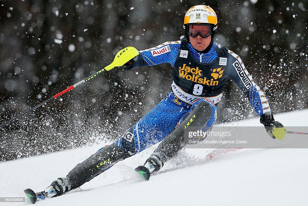 Mattias Hargin of Sweden competes during the Audi FIS Alpine Ski World Cup Men's Slalom on March 10, 2013 in Kranjska Gora, Slovenia.