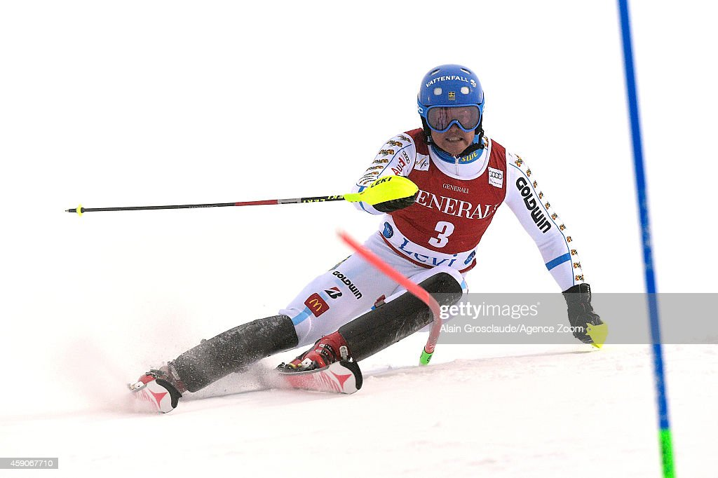 <a gi-track='captionPersonalityLinkClicked' href=/galleries/search?phrase=Mattias+Hargin&family=editorial&specificpeople=4131687 ng-click='$event.stopPropagation()'>Mattias Hargin</a> of Sweden competes during the Audi FIS Alpine Ski World Cup Men's Slalom on November 16, 2014 in Levi, Finland.