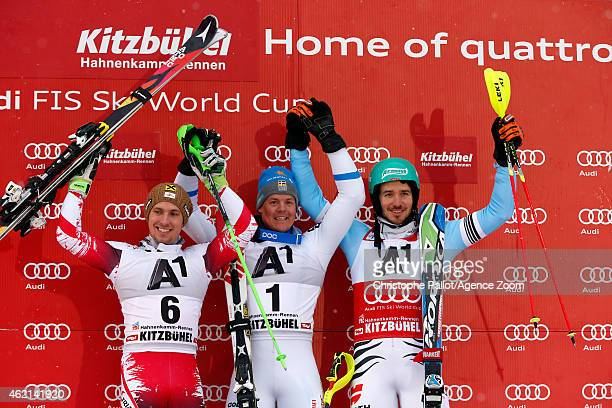 Mattias Hargin of Sweden takes 1st place Marcel Hirscher of Austria takes 2nd place Felix Neureuther of Germany takes 3rd place during the Audi FIS...