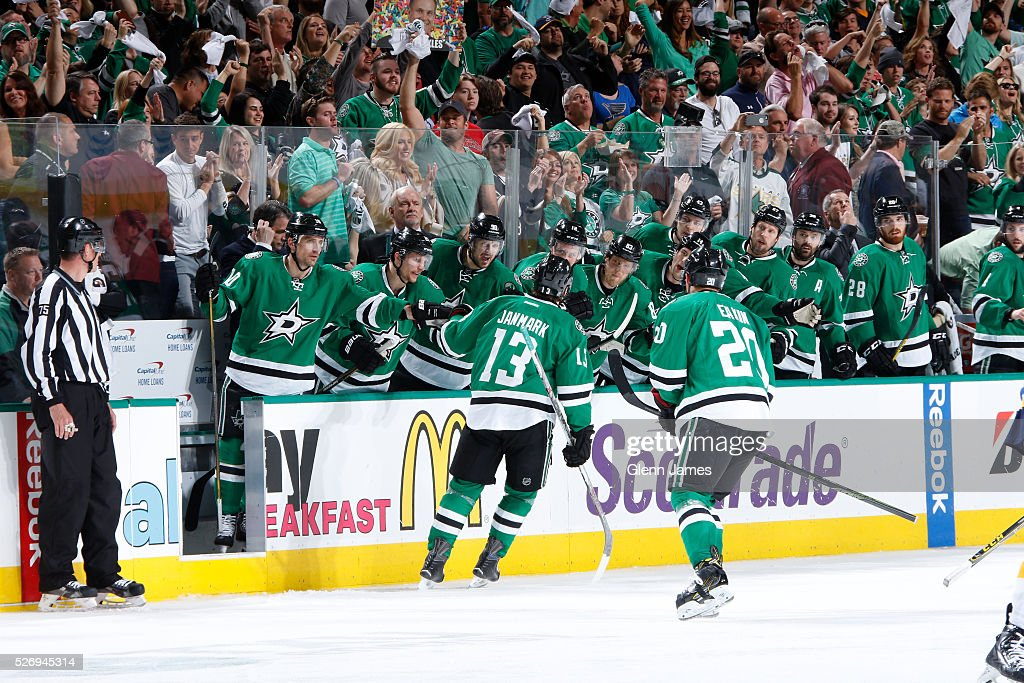 Mattias Janmark #13 of the Dallas Stars celebrates a goal against the St. Louis Blues in Game Two of the Western Conference Second Round during the 2016 NHL Stanley Cup Playoffs at the American Airlines Center on May 1, 2016 in Dallas, Texas.