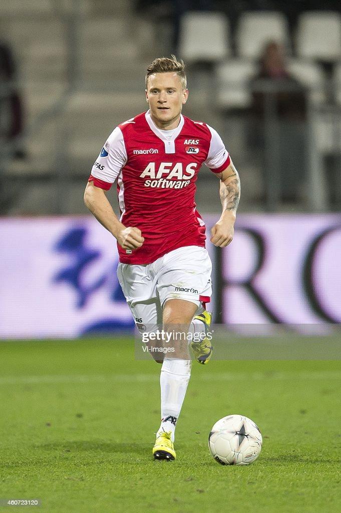 Mattias Johansson of AZ Alkmaar during the Dutch Eredivisie match between AZ Alkmaar and FC Utrecht at AFAS stadium on December 20, 2014 in Alkmaar, The Netherlands