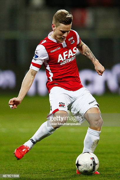 Mattias Johansson of AZ in action during the Dutch Eredivisie match between AZ Alkmaar and SC Cambuur held at the AFAS Stadion on March 21 2015 in...