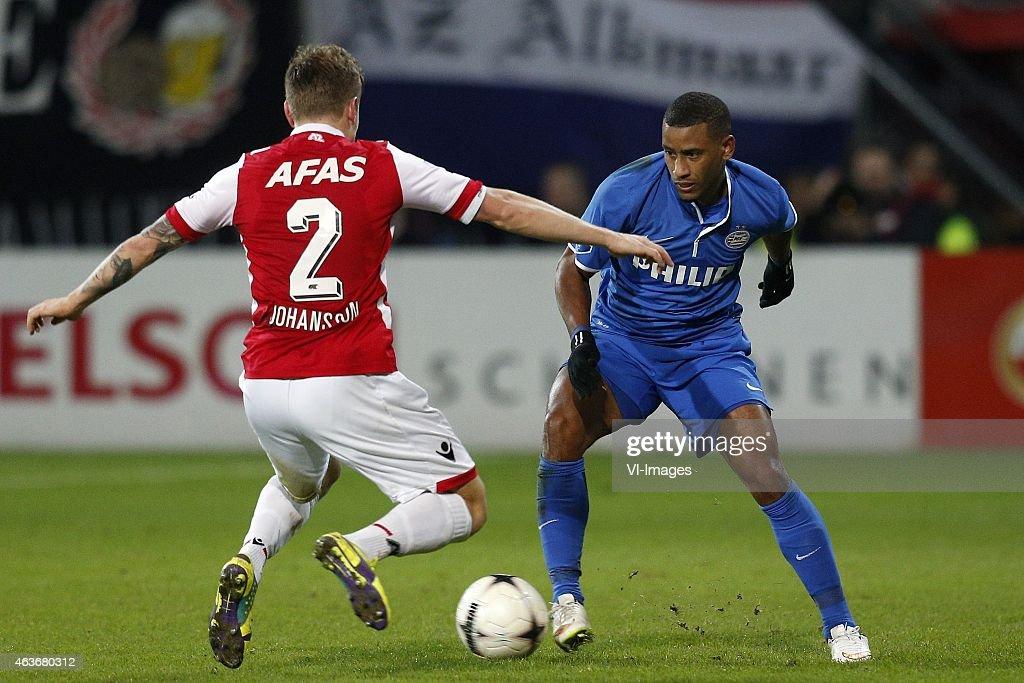 , Mattias Johansson of AZ, Luciano Narshingh of PSV during the Dutch Eredivisie match between AZ Alkmaar and PSV Eindhoven at AFAS stadium on February 13, 2015 in Alkmaar, The Netherlands