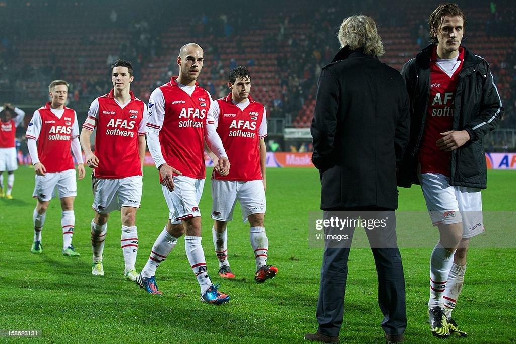 Mattias Johansson of AZ, Nick Viergever of AZ, Ruud Boymans of AZ, Dirk Marcellis of AZ, Etienne Reijnen of AZ during the Dutch Cup match between AZ Alkmaar and FC Twente at the AFAS Stadium on December 21, 2012 in Alkmaar, The Netherlands.