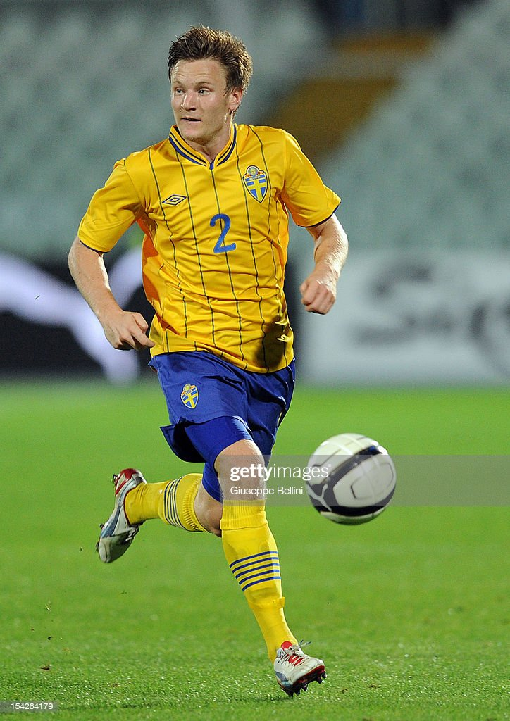 Mattias Johansson of Sweden in action during the UEFA European Under-21 Championship play-off match between Italy and Sweden at Adriatico Stadium on October 12, 2012 in Pescara, Italy.
