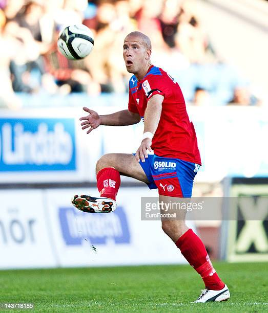 Mattias Lindstrom of Helsingborgs IF in action during the Allsvenskan League match between Helsingborgs IF and AIK Solna at the Olympia Stadium on...