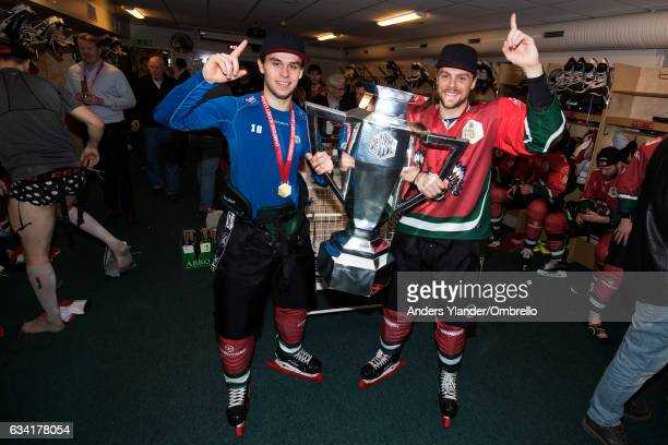 Mattias Norstebo and Mats RosseliOlsen celebrates with the trophy after winningthe Champions Hockey League Final between Frolunda Gothenburg and...