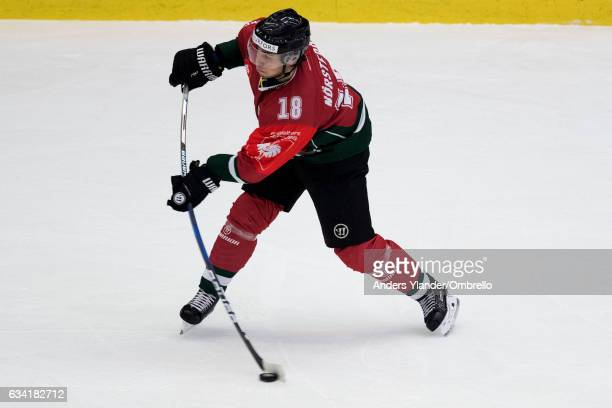 Mattias Norstebo of the Frolunda Gothenburg takes a shot during the Champions Hockey League Final between Frolunda Gothenburg and Sparta Prague at...