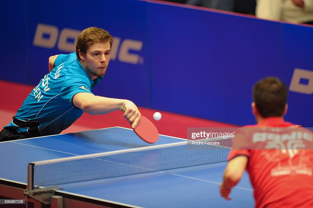 Mattias Oversjo and Tristan Flore during the Table Tennis Champions League Final between Pontoise Cergy and Eslov on May 29, 2016 in Cergy-Pontoise, France.