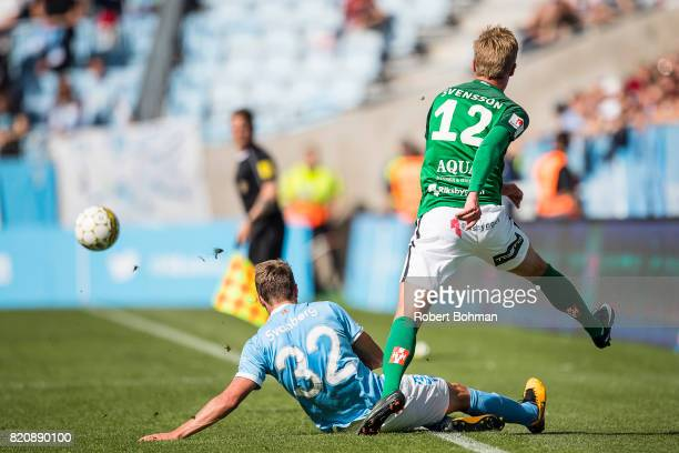 Mattias Svanberg of Malmo FF and Jesper Svensson of Jonkopings Sodra during the Allsvenskan match between Malmo FF and Jonkopings Sodra IF at...