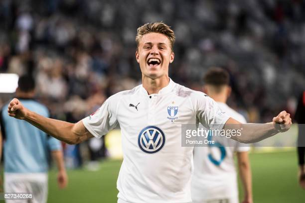 Mattias Svanberg of Malmo FF celebrates after the victory during the Allsvenskan match between Djurgardens IF and Malmo FF at Tele2 Arena on August 7...