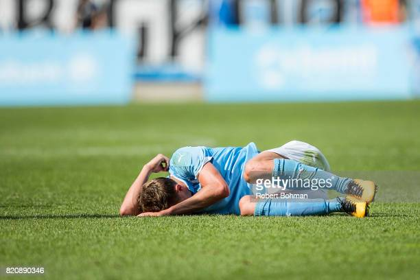 Mattias Svanberg of Malmo FF dejected during the Allsvenskan match between Malmo FF and Jonkopings Sodra IF at Swedbank Stadion on July 22 2017 in...