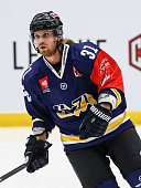 Mattias Tedenby of HV71 on the warm up during the Champions Hockey League group stage game between HV71 Jonkoping and JYP Jyvaskyla on October 7 2014...