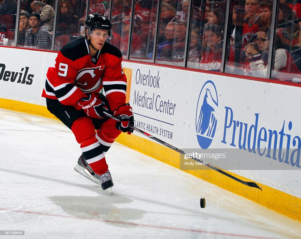 Mattias Tedenby #9 of the New Jersey Devils plays the puck against the Philadelphia Flyers during the game at the Prudential Center on November 2, 2013 in Newark, New Jersey.