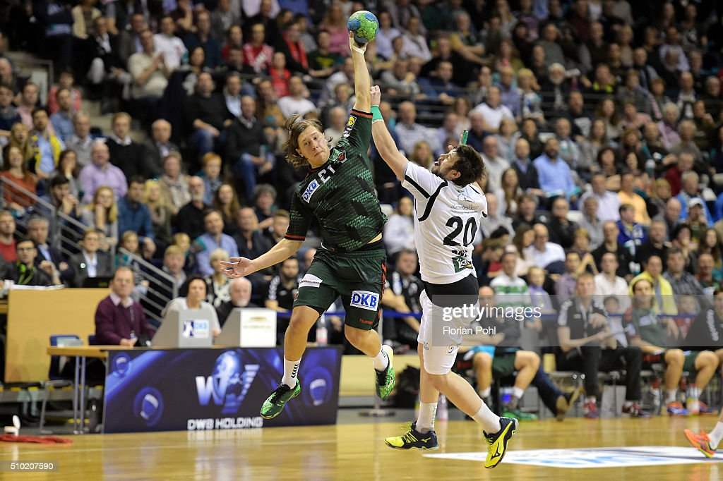 Mattias Zachrisson of Fuechse Berlin and Momir Rnic of MT Melsungen during the game between Fuechse Berlin and MT Melsungen on February 14, 2016 in Berlin, Germany.