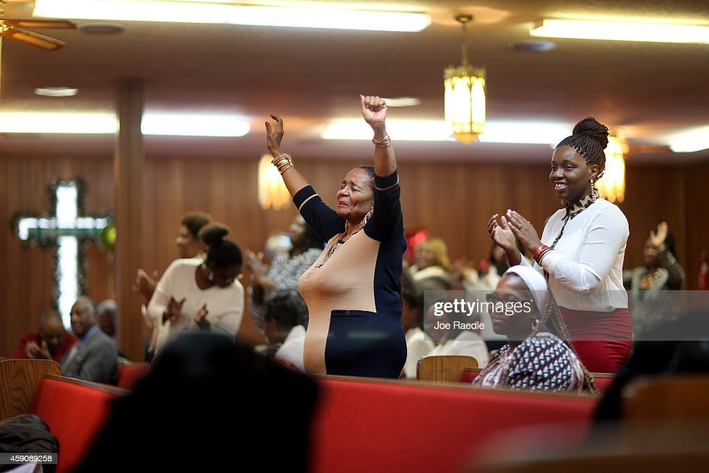 Mattie Carpenter and other parishioners attend a service at the St John Missionary Baptist Church which was celebrating its 48th anniversary as they...