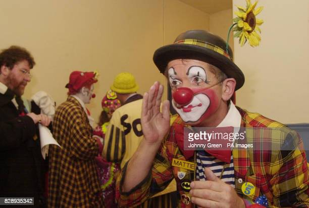 Mattie from London and other clowns from across the United Kingdom gather for the 58th Annual Grimaldi Service at the 'Clown's Church' in Dalston...