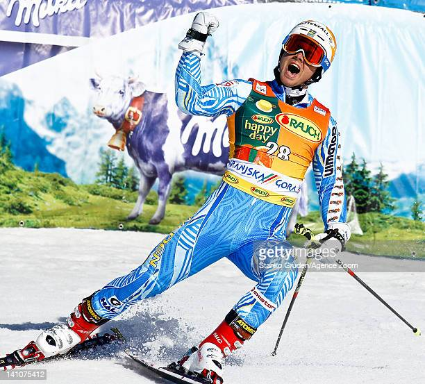 Matts Olsson of Sweden competes during the Audi FIS Alpine Ski World Cup Men's Giant Slalom on March 10 2012 in Kranjska Gora Slovenia