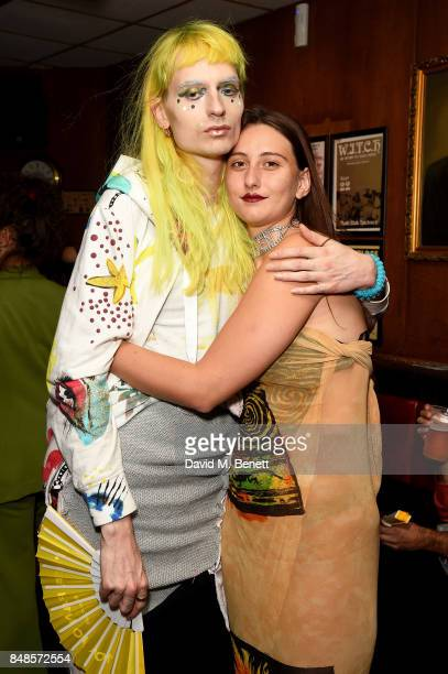 Matty Bovan and Reba Maybury attend the Fashion East London Fashion Week party in association with Bumble at Moth Club on September 17 2017 in London...