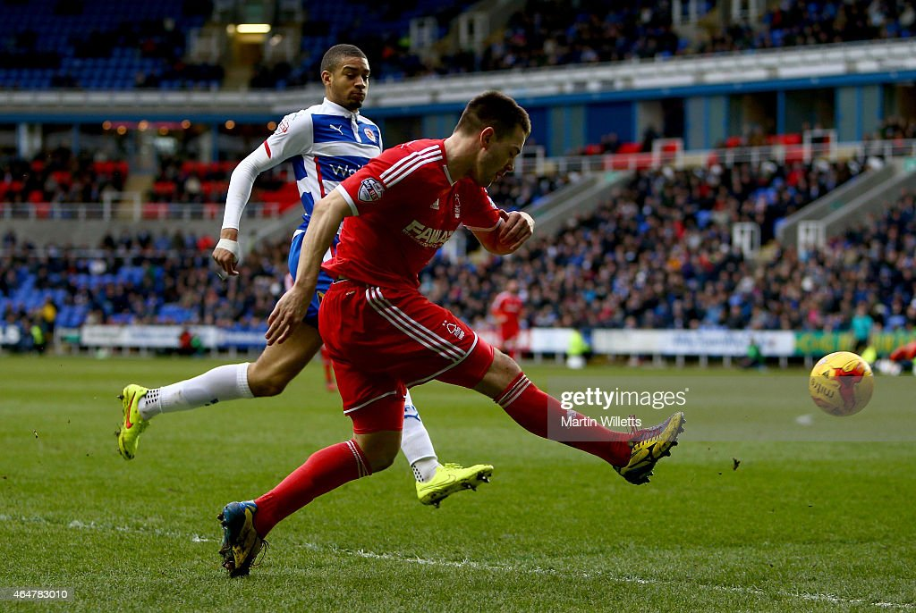 Matty Fryatt of Nottingham Forest gets in a cross during the Sky Bet Championship match between Reading and Nottingham Forest at Madejski Stadium on February 28, 2015 in Reading, England.