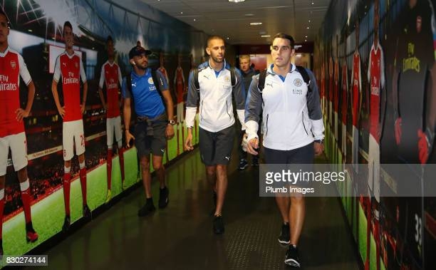Matty James Islam Slimani and Riyad Mahrez of Leicester City arrive at Emirates Stadium ahead of the Premier League match between Arsenal and...