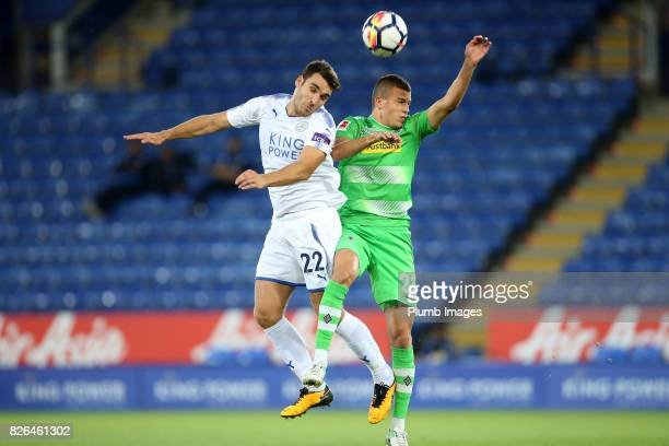 Matty James of Leicester City in action with Laszlo Benes of Borussia Monchengladbach during the Leicester City v Borussia Monchengladbach Preseason...