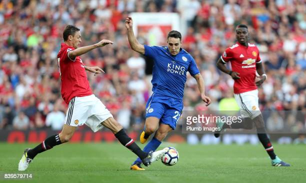 Matty James of Leicester City in action with Nemanja Matic of Manchester United during the Premier League match between Manchester United and...