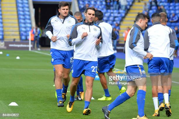 Matty James of Leicester City warms up at King Power Stadium ahead of the Premier League match between Leicester City and Chelsea at King Power...