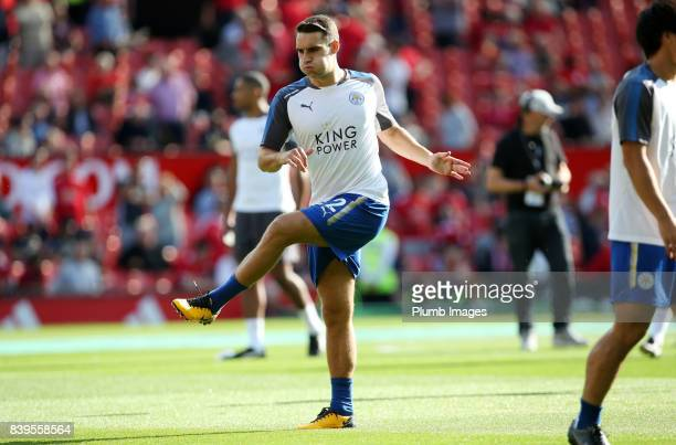 Matty James of Leicester City warms up at Old Trafford ahead of the Premier League match between Manchester United and Leicester City at Old Trafford...