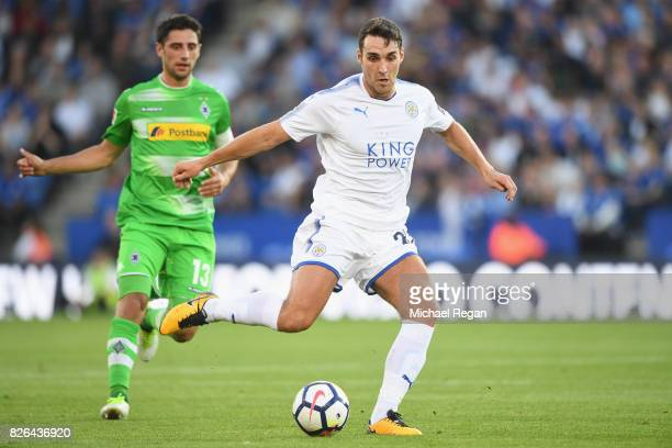Matty James of Leicester in action with Lars Stindl of Borussia Moenchengladbach during the preseason friendly match between Leicester City and...