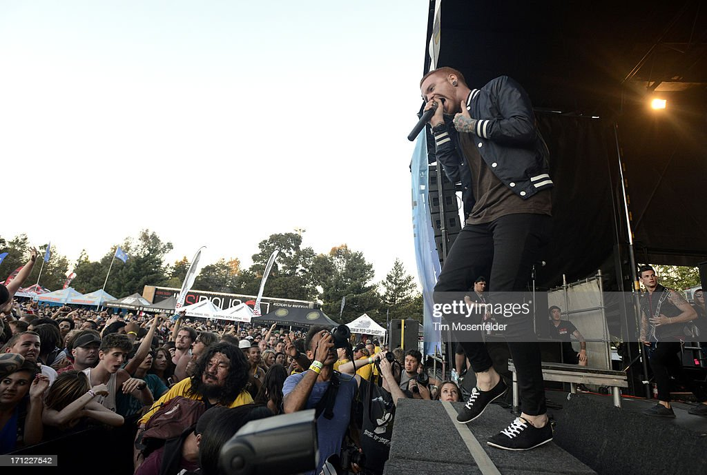 Matty Mullins of Memphis May Fire performs as part of the Vans Warped Tour at Shoreline Amphitheatre on June 22, 2013 in Mountain View, California.