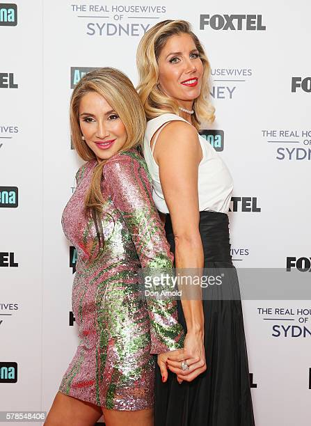 Matty Samaei and AthenaX Levendi pose during a media call to announce the cast of The Real Housewives of Sydney at the Park Hyatt on July 22 2016 in...