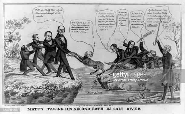 Matty taking his second bath in Salt River by H Bucholzer James Baillie circa 1844 Lithograph print on wove paper A political cartoon satirizing Van...