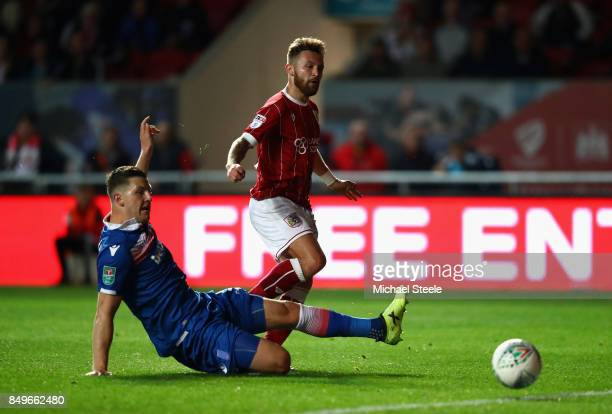 Matty Taylor of Bristol City scores his sides second goal during the Carabao Cup Third Round match between Bristol City and Stoke City at Ashton Gate...