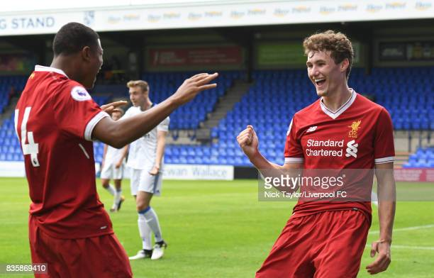 Matty Virtue of Liverpool celebrates his second goal with team mate Rhian Brewster during the Liverpool v Sunderland U23 Premier League game at...