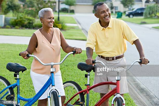 Mature African American couple with bicycles