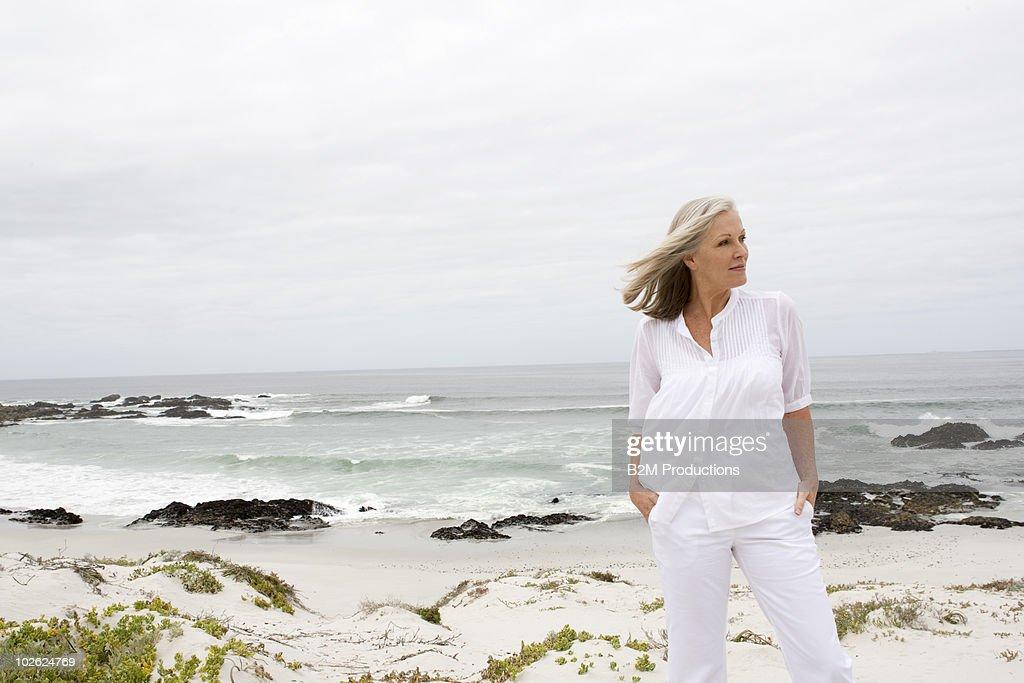 Mature alone at beach