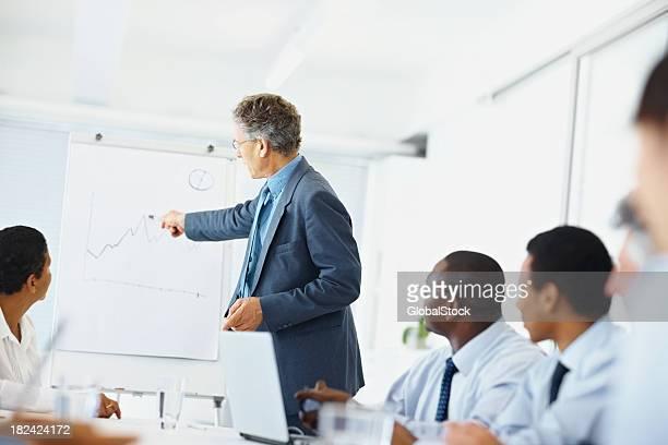 Reifer Geschäftsmann mit Kollegen erklären finanzielle Diagramm