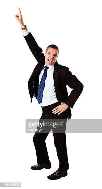 Reifer Geschäftsmann Büsten einige Übungen im Büro-party: Totaler Reinfall!