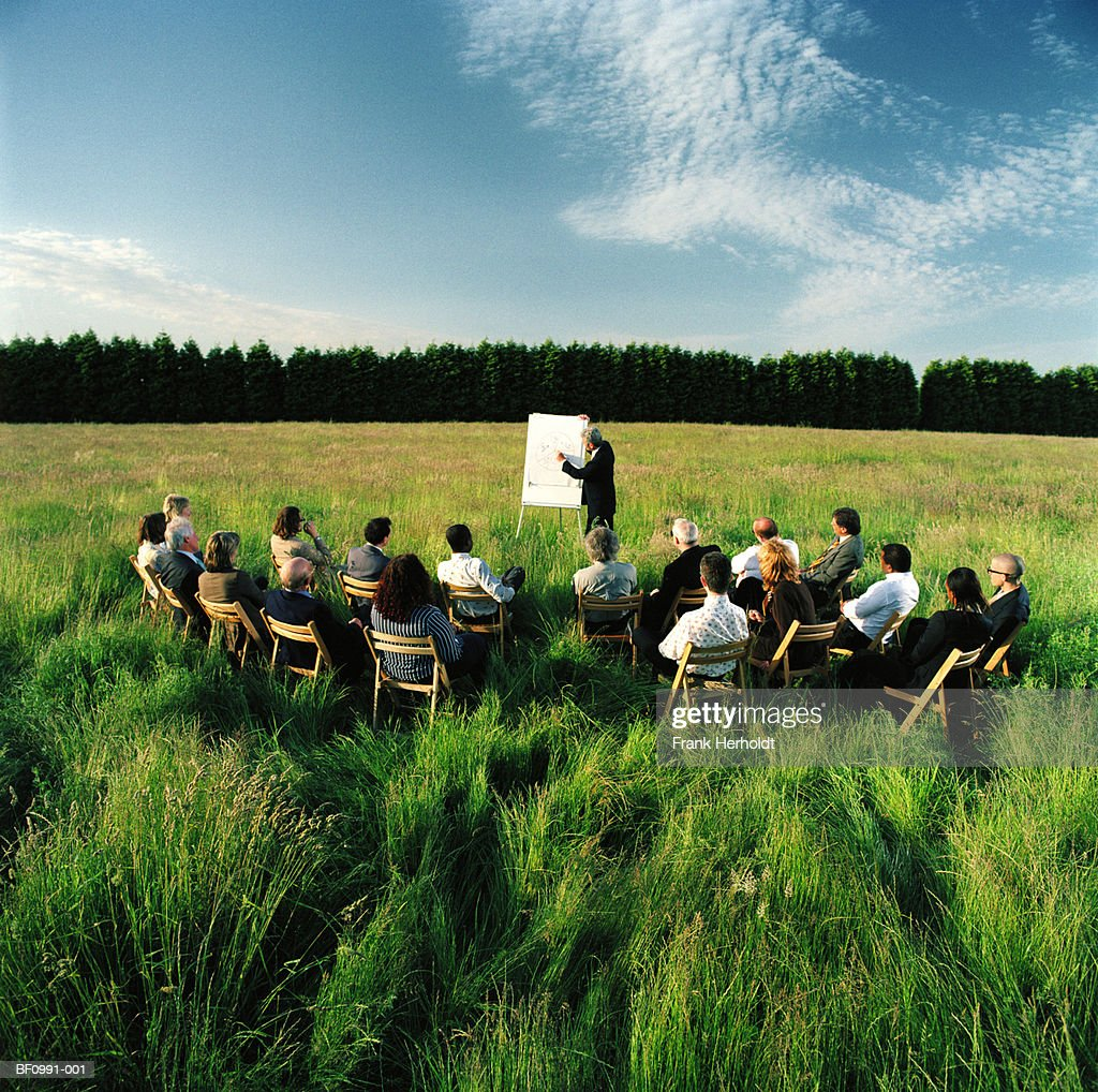 Mature businessman conducting presentation in field : Stock Photo