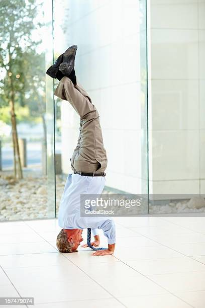 Mature businessman exercising