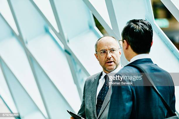 Mature businessman in discussion with colleague