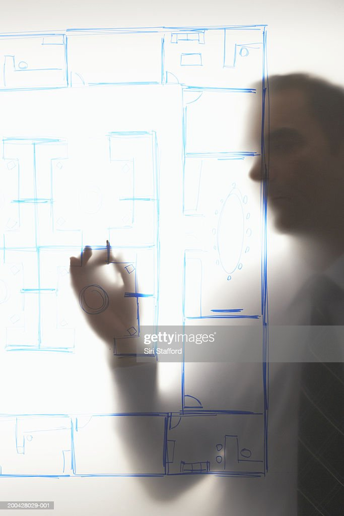 Mature businessman looking at diagram mounted on frosted glass : Stock Photo