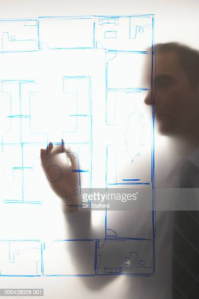 Mature businessman looking at diagram mounted on frosted glass